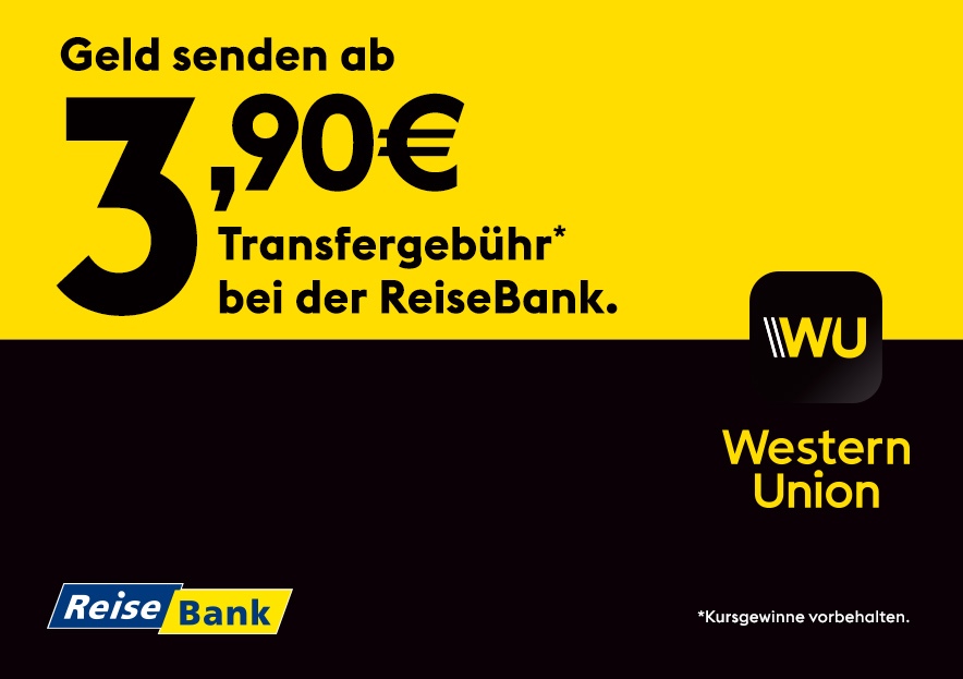 Send money from 3,90€ transfer fee at ReiseBank